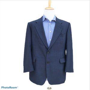 ATELIER TORINO 44R Wool Blue Windowpane 2 Button
